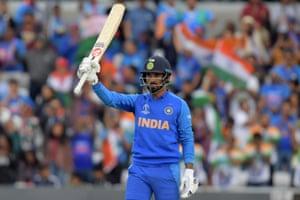 India's K.L. Rahul celebrates reaching his century.