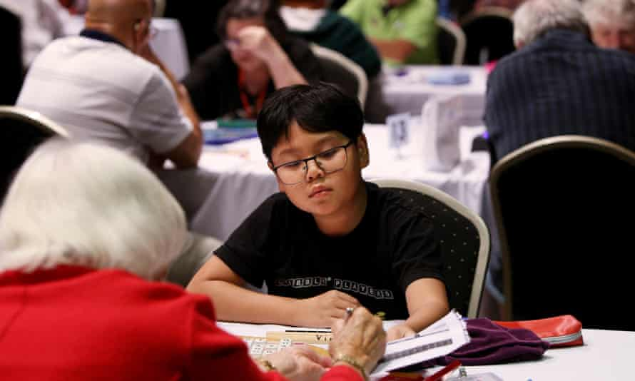 Youth talent Vinh Nguyen takes on the national Scrabble tournament's oldest competitor, 87-year-old Rene Chelton, at Sydney's Bankstown Sports Club.