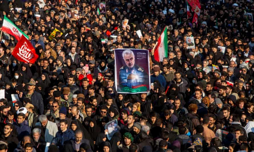 Mourners attend a funeral ceremony for Qassem Suleimani in January last year in Tehran. The Trump White House wanted to play down injuries to US troops in reprisals by Iran, a former defense spokeswoman has said.