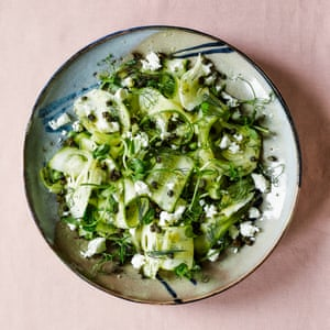 Georgina Hayden's courgette salad with dill dressing and crisp capers.