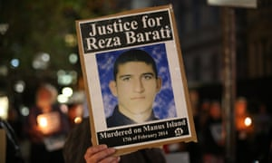 A candlelit vigil in Sydney after the death of Reza Barati.
