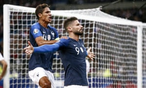 Olivier Giroud celebrates after putting France in front but their lead was shortlived against Turkey.
