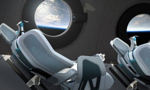 The interior of the cabin of billionaire Richard Branson from Virgin Galactic's SpaceShipTwo space tourism company