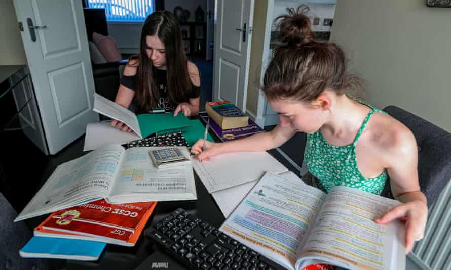 Lulu and Maisy Byrne studying at home in Liverpool