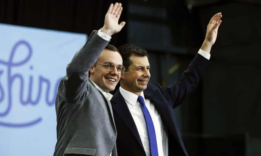Pete Buttigieg with his husband, Chasten, in Milford, New Hampshire, on 10 February.