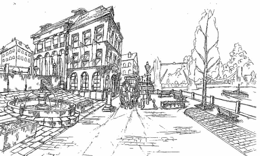An early sketch of Power Stone's London stage.