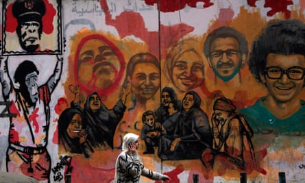 Murals of people killed during Egypt's uprising.