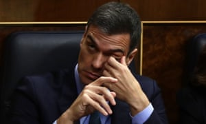 Spain's prime minister Pedro Sánchez looks downcast during the budget debate in parliament on Wednesday.