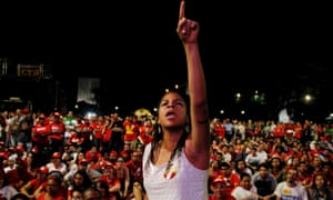 Supporters of President Dilma Rousseff gather in Brasilia
