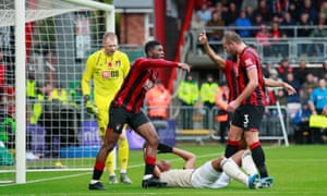 Bournemouth's Jefferson Lerma reacts after Manchester United's Anthony Martial goes down in the box.