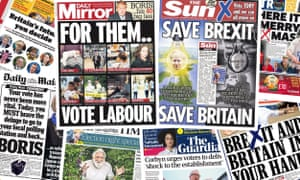 Front pages of the UK papers on 12 December 2019.