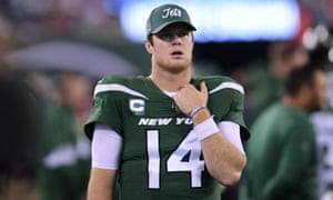 Jets quarterback Sam Darnold ponders a woeful performance from his team against their divisional rivals