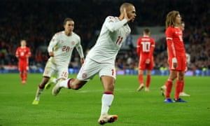 Martin Braithwaite celebrates after scoring Denmark's second goal. Wales struck back immediately but the visitors held on to win.