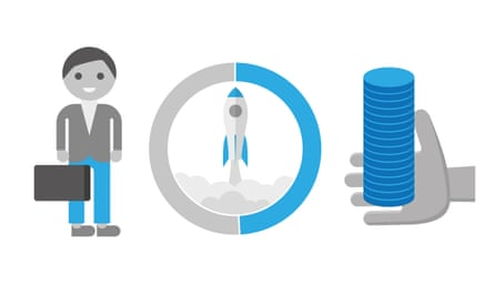 graphic of rocket, figure and money