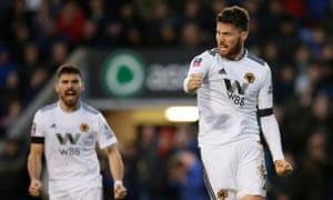 Matt Doherty celebrates scoring the second goal for Wolves against Shrewsbury.