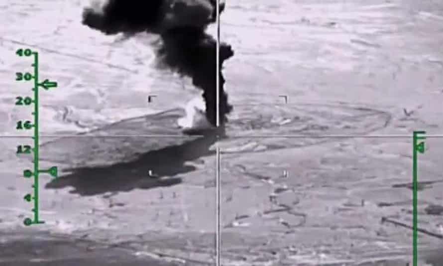 An airstrike by Russia against Isis-controlled oil extraction in Syria