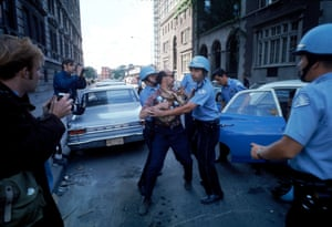 Police restrain a protester during the 1968 Democratic National Convention in Chicago