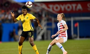 Khadija Shaw in action against the US. The 22-year-old scored the goals that sealed Jamaica's surprise qualification for France 2019.