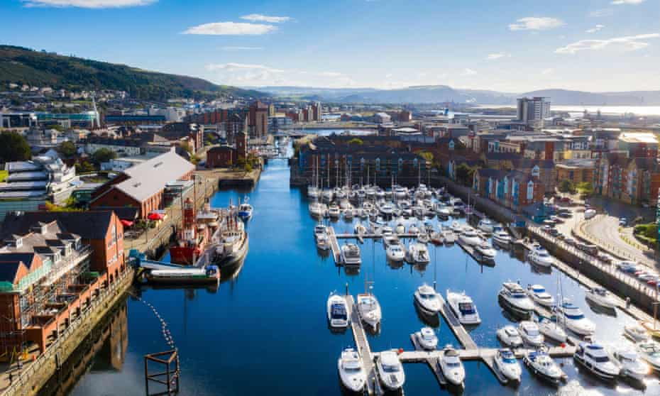 Tawe Basin marina in Swansea from above, on a sunny day. UK