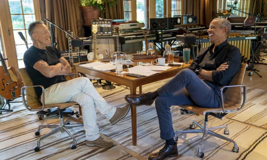 Bruce Springsteen with Barack Obama during their podcast of conversations recorded at the singer's home studio in New Jersey.