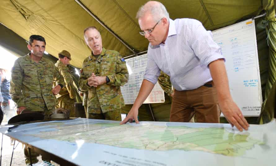 Scott Morrison at the defence staging ground on Kangaroo Island