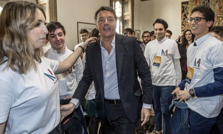 Matteo Renzi at a Democratic party press conference in Rome.