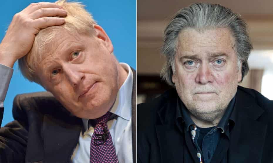 Boris Johnson has denied having links to the US activist Steve Bannon.