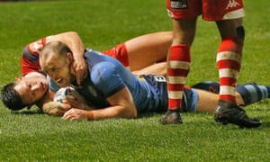 James Roby of St Helens goes over for his second try.