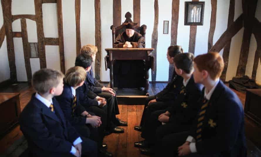 Performance guide Sam Lesser gives a tutorial in Latin to pupils of King Edward VI School