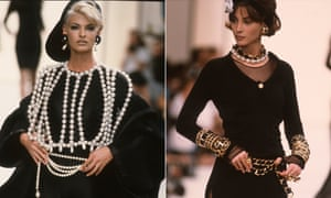 Linda Evangelista and Christy Turlington walk the runway during the Chanel Ready to Wear 91/92 show