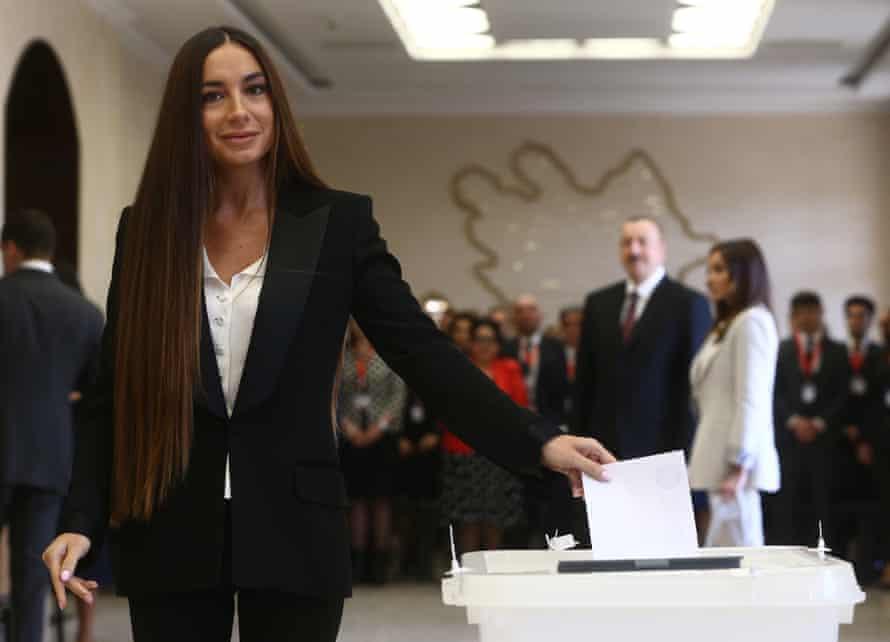 Arzu Aliyeva, daughter of Azerbaijani President Ilham Aliyev, votes in the 2018 Azerbaijani presidential election.