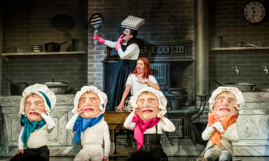 Pinpoint stagecraft … Claudia Boyle and Hilary Summers in Alice's Adventures Under Ground.