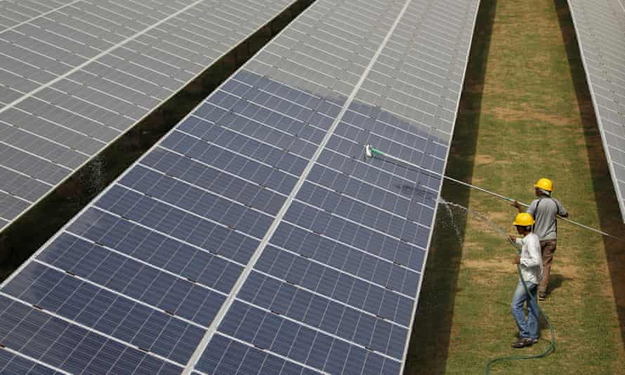 A solar power plant in Gujarat, India. Renewable energy in the country would be cheaper than between 87% and 91% of new coal plants, the report says.