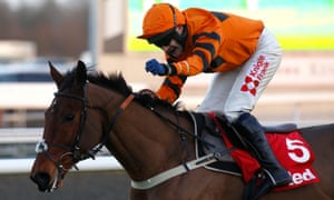 Thistlecrack, ridden by Tom Scudamore, a decisive winner at the finish of the King George VI Chase at Kempton.