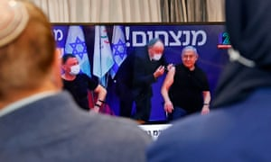 Benjamin Netanyahu and the health minister Yuli Edelstein were injected with the Pfizer-BioNTech vaccine live on TV at the Sheba Medical Center, the country's largest hospital, in Ramat Gan near the coastal city of Tel Aviv.