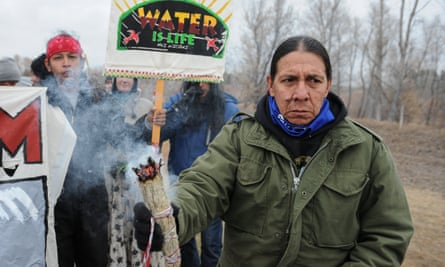 Protesters block highway 1806 in Mandan during a protest against plans to pass the Dakota Access pipeline near the Standing Rock Indian Reservation, North Dakota, on Wednesday.