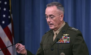 Gen Joseph Dunford Jr. Chairman of the joint chiefs of staff briefs the media on recent military operations in Niger, at the Pentagon on 23 October 2017.