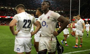 A disappointed Maro Itoje and teammates after the defeat in Cardiff