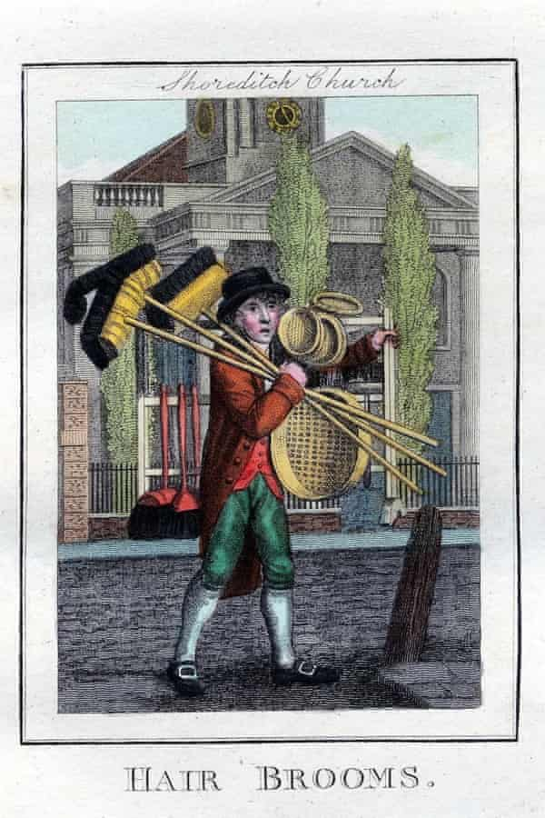 """""""Hair Brooms"""" outside Shoreditch Church, by William Marshall Craig, 1804."""