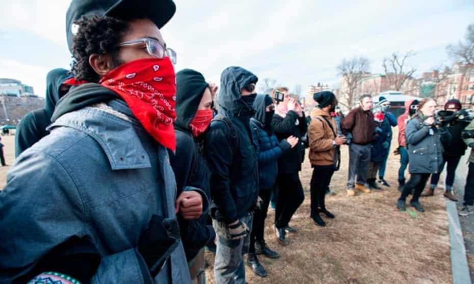 Antifa members at the Women's March in Boston, Massachusetts, on 19 January 2019.