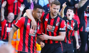 Josh King is congratulated after scoring Bournemouth's winner.