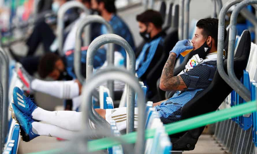 James Rodríguez sitting in the stands as Real Madrid played Eibar in June 2020
