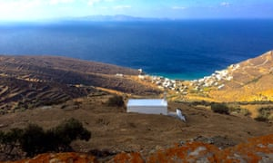Ysternia Bay, Tinos, with a view over to Siros.