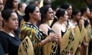 The kapa haka group prepare for the arrival of the delegation including prime minister Jacinda Ardern at the upper Treaty grounds