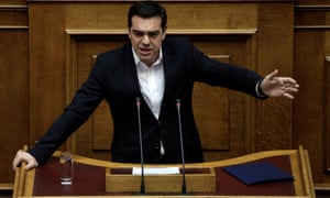 Greece's prime minister Alexis Tsipras addresses parliament on Friday