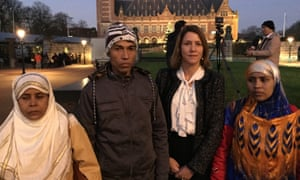 Rohingya survivors Hamida Khatun (far left), Yousuf Ali (second left) and Hasina Begun (far right), with Antonia Mulvey outside the court.