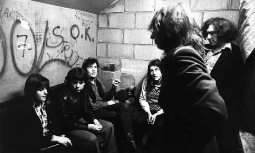 Nick Kent backstage with Dr Feelgood at the Marquee Club in London, Jan 1975