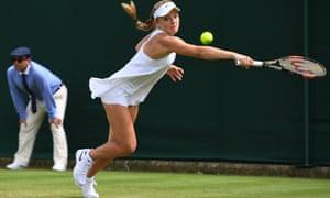 Katie Swan struggles with Nike's Premier Slam dress on her Wimbledon debut.
