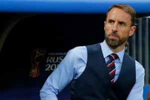 England manager Gareth Southgate takes his seat on the bench.
