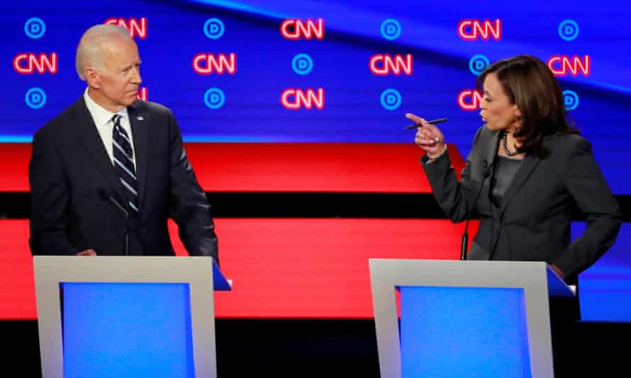 Kamala Harris confronts former vice-president Joe Biden during the second Democratic presidential debate in Detroit, Michigan.